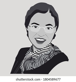 Rosa Parks illutration  in boycott of the Montgomery bus system, Montgomery, Alabama, United Estated, around 1955