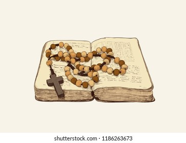Rosary and the old prayer book. Hand-drawn vintage drawing . Catholic tradition. Color vector sketch. Isolated object .