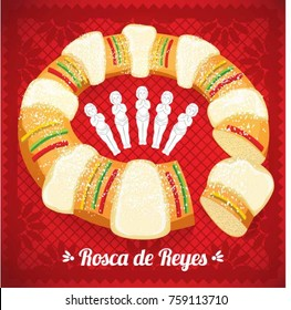 Rosca de Reyes (Three kings Cake in Spanish) with Baby Jesus Dolls Composition