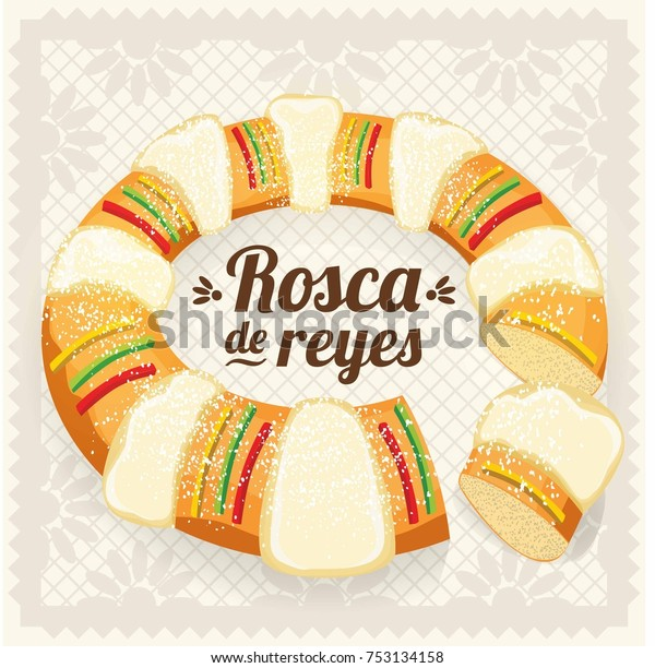 Vector De Stock Libre De Regalías Sobre Rosca De Reyes Three Kings