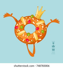 Roscon de Reyes (King's cake). Spanish traditional Christmas pastry. Vector illustration