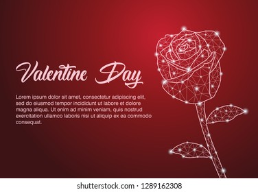 Rose. Abstract polygonal rose isolate on red background with dots . Valentine day, wedding celebration, , happy romantic, flower Concept illustration - Vector