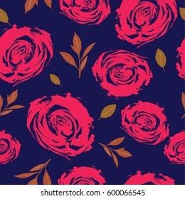 rose background vector, Vintage, retro. Trendy print. Beautiful pattern for decoration,. Exquisite pattern for design with red rose flowers. Seamless pattern with red roses on dark purple background.
