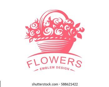 Rose basket logo - vector illustration, emblem design on white background