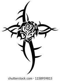 Rose black flower tribal tattoo on white background