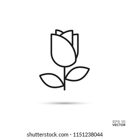 Rose blossom vector line icon. Love and romance symbol.