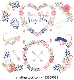 Rose blush and Navy blue wedding / Flower / Heart
