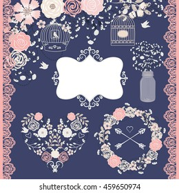 Rose blush and Navy blue wedding / Vector Baby breath / floral elements
