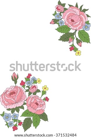 rose border flowers corners stock vector royalty free 371532484