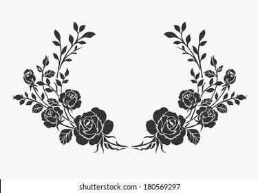 Rose border,Vector ornamental decorative elements design.