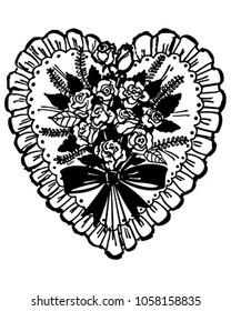 Rose Bouquet Valentine - Retro Clip Art Illustration