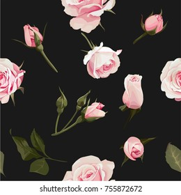 Rose Bouquet vector seamles pattern Flowered Texture on Black Background #4