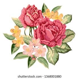 Rose bouquet  vintage vector illustration