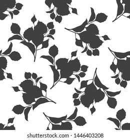 Rose branch with buds on white background.Seamless pattern. Silhouettes.
