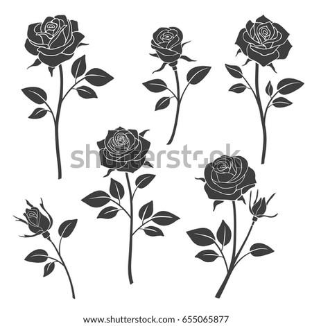 rose buds vector silhouettes flowers design stock vector. Black Bedroom Furniture Sets. Home Design Ideas