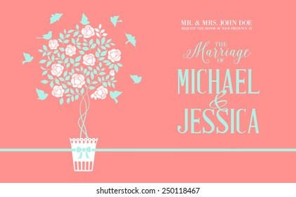 Rose bush icon over red background card with marriage text. Vector illustration.