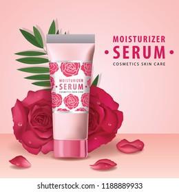 Rose collagen vitamin skin care cream vector illustration