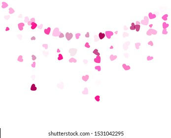 Rose color hearts confetti wedding vector background. Dreamy falling hearts scatter illustration. Love concert party graphic design.