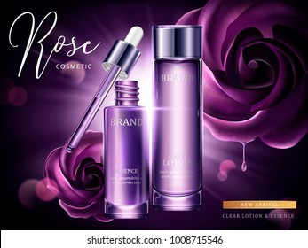 Rose cosmetic ads, droplet and glass bottle in purple with burst light in 3d illustration, purple roses