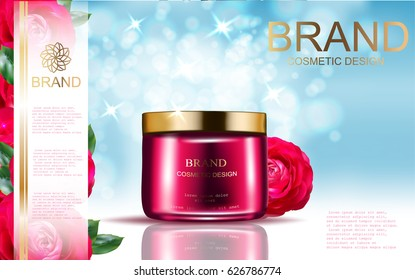 Rose Cosmetic ads template, vector realistic illustration cosmetic mockup  on the sky blue  background and rose flower elements.