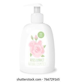 Rose cosmetics, white bottle cream mockup, 3d