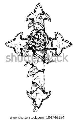 cross coloring pages with roses   Rose Cross Stock Vector (Royalty Free) 104746154 ...