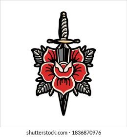 rose and dagger tattoo vector design