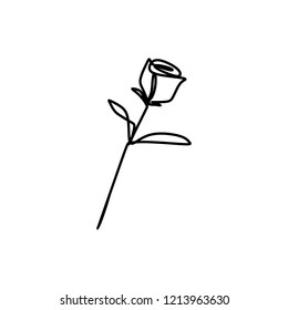 Rose drawing vector using continuous single one line art style isolated on white background.