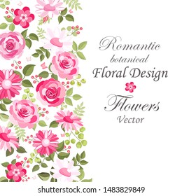 The rose elegant card. Beautiful bouquet of pink flowers and leaves. Floral arrangement isolated on background. Design greeting card and invitation of the wedding, birthday. Red. Vector illustration.