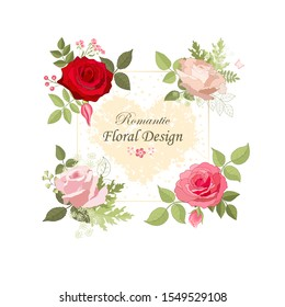 The rose elegant card. Square frame with beautiful bouquet of pink flowers and leaves. Floral arrangement isolated on background.  Invitation of the wedding, birthday. Red. Heart. Vector illustration.