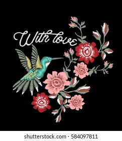 Rose embroidery design and Hummingbird