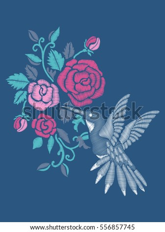 Rose Embroidery Design Hummingbird Stock Vector Royalty Free