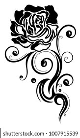 Rose with filigree Tribal Tattoo Ornament.