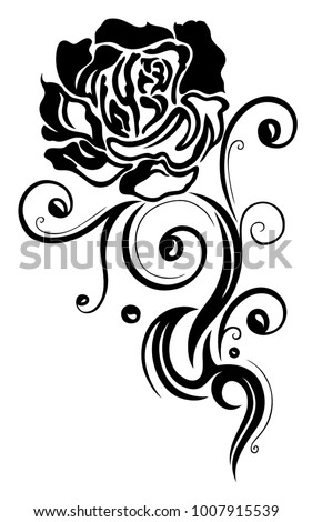 Rose Filigree Tribal Tattoo Ornament Stock Vector Royalty Free