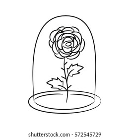 Rose in a flask of glass. on the white background for your design. Vector illustration.