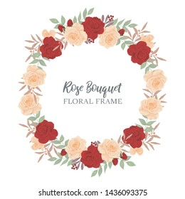 Rose flower circle border. Floral border wreath for greeting card and wedding decoration.