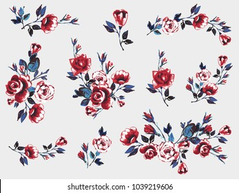 Rose flower embroidery patch, vintage roses vector illustration. Watercolor floral border for graphic design. Flowers isolated on white background