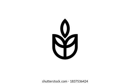 rose flower floral eco leaf line style logo design template