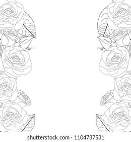 Rose Flower Frame Outline Border. isolated on White Background. Vector Illustration.