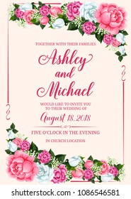Rose flower frame of wedding invitation banner template. Marriage celebration invite card design with pink and white flower border of rose, peony and lily of the valley, green leaf and floral bud