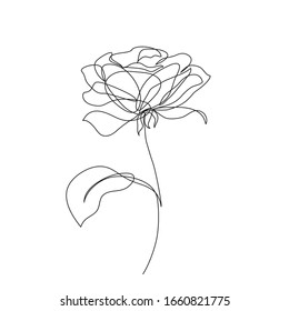 Rose flower icon. Continuous one line drawing. Vector illustration