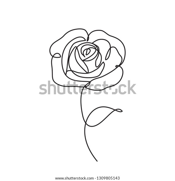 Rose Flower Icon Continuous One Line Stock Vector Royalty Free
