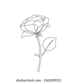Rose flower icon one line drawing art. Continuous line drawing. Abstract minimal flora