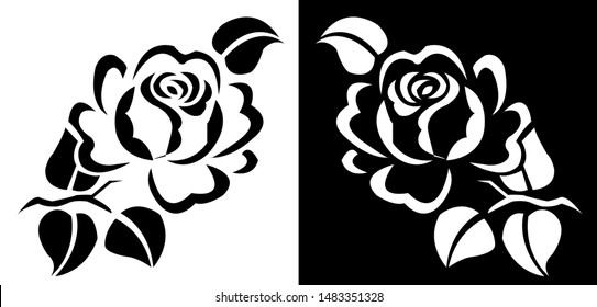 Rose flower with leaves - Indian Traditional and Cultural Scroll saw, Intarsia, T Shirt design, wall sticker, Tattoo or Embossing vector line art with black and white background