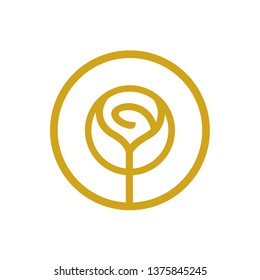 Rose flower logo, beauty cosmetic salon concept, thin line style logo icon