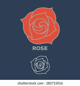 rose flower logo vector