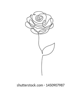 Rose flower on white background. One line drawing style.Tattoo idea.