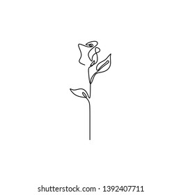 Rose flower one line drawing