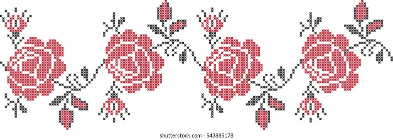rose flower pattern embroidered cross-stitch pattern