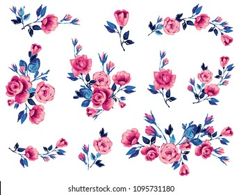 Rose flower pink blue embroidery patch, vintage roses vector illustration. Watercolor floral border for graphic design. Flowers isolated on white background